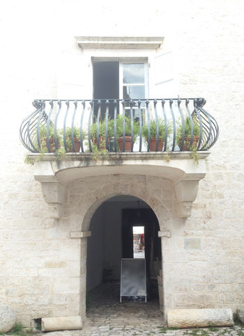 Balcony Arch Architecture Balcony Building Croatia Croatia ♡ Dalmatia Design Entrance Exterior Façade Medieval Medieval Architecture Old Plant Potted Plant Residential Structure Romeo And Juliet Stone Stone Wall Style Town Window