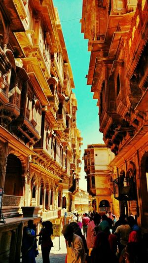 Into the crevice of the Haveli. Architecture Building Exterior Large Group Of People Travel Destinations City Lifestyles Built Structure History People Outdoors Men Day The Past Rendition Tranquil Scene Cloud - Sky Architecture Nature Memories Cloudy Wonder Footpath Famous Place Tourism Tourist