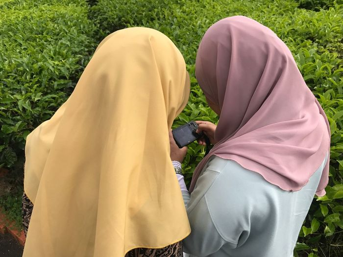 Rear View Of Female Friends Using Phone By Plants