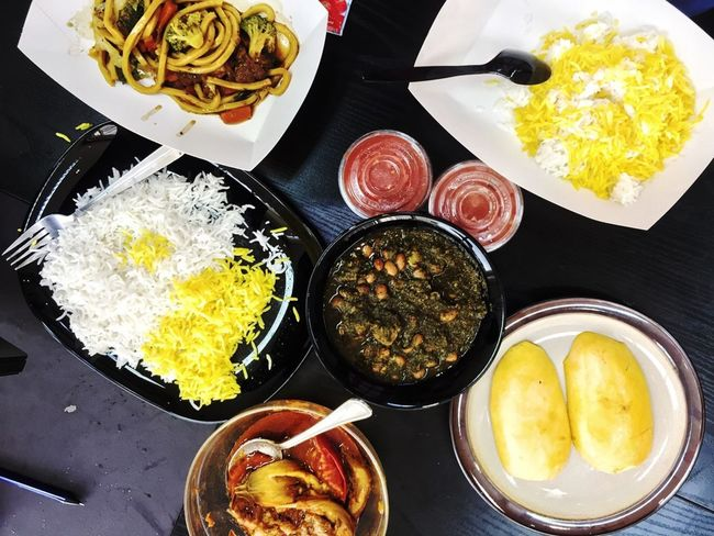 Iranian and Asian food combo Asian Food Bowl Food Food And Drink Freshness Fried Rice Healthy Eating Noodles Plate Serving Size Yellow