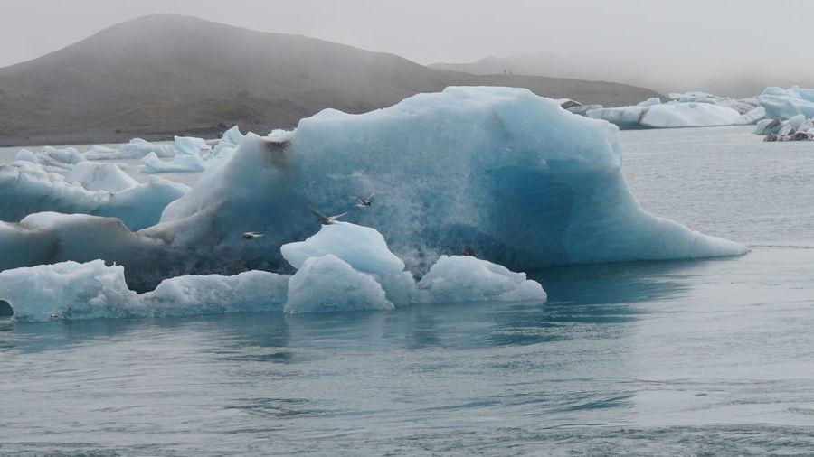 Scenic view of iceberg on sea