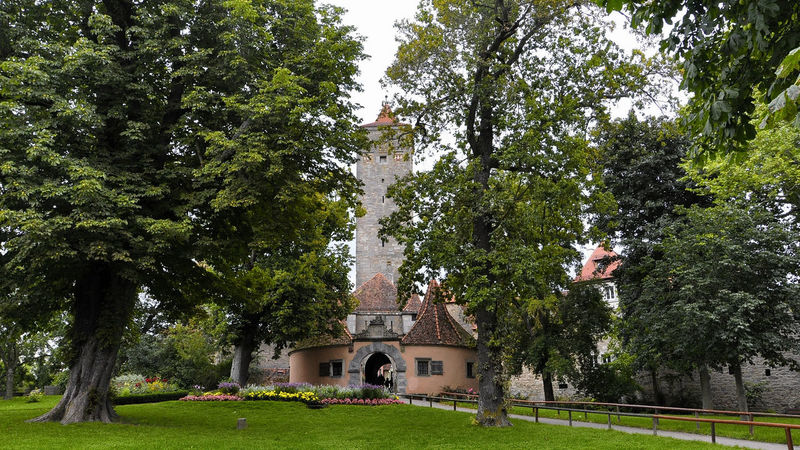 Famous Place German Grass Green Historic Town History Old Town Park - Man Made Space Rothenburg Rothenburg Ob Der Tauber Town Gate Tranquility Travel Destinations Trees