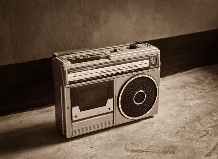 Retro radio Radio Retro Styled Technology Old-fashioned Indoors  Table No People Music Communication Electrical Equipment Speaker The Media Close-up Day