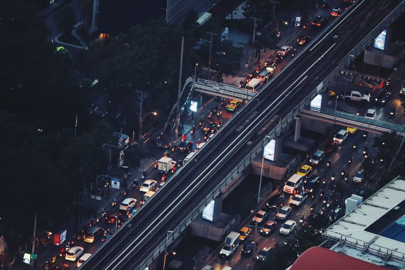 High Angle View Of Traffic On Road At Night