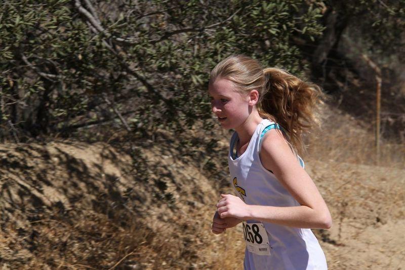 Teenage girl running marathon