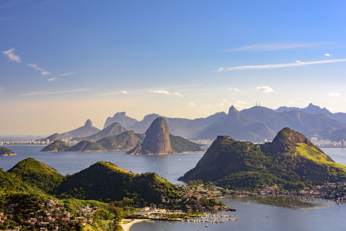View of Guanabara Bay, Sugar Loaf and hills of Rio de Janeiro from the City Park in Niteroi Nature Niterói Panorama Rio De Janeiro Skyline Bay Beach Beauty In Nature Day Destination Guanabara Bay Hill Landscape Mountain Mountain Range Nature No People Outdoors Scenics Sea Sky Tourism Tranquil Scene Travel Destinations Water