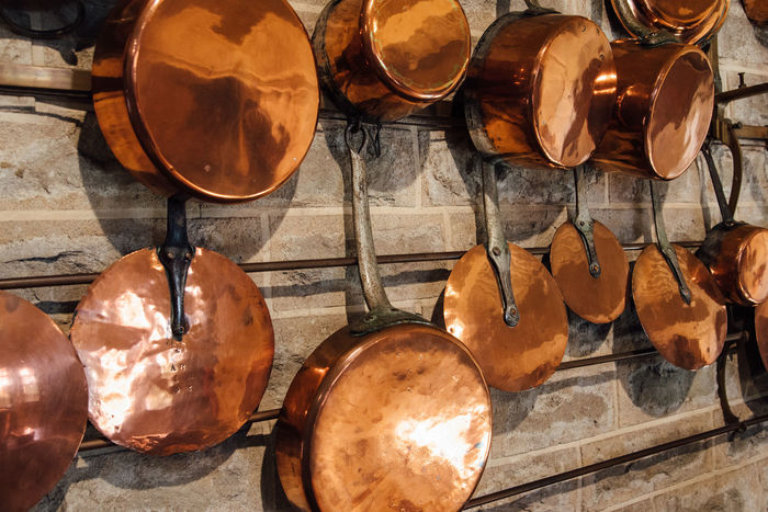kitchen utensils Kitchen Copper Cookware Vintage Copper Pans Copper  Cooking Old Copper Pot EyeEm Selects Stack Large Group Of Objects No People Close-up