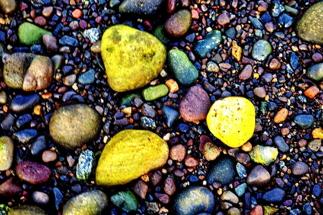 pebble, full frame, pebble beach, large group of objects, abundance, beach, backgrounds, no people, directly above, variation, nature, close-up, day, outdoors