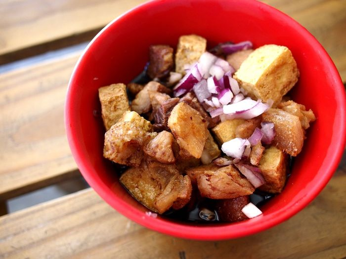 bowl of fried pork and tofu known to Filipinos as Tokwa't (tofu) Baboy (pork). Food Asian  Filipino Asian Foods Filipino Food Tokwa Tokwatbaboy Baboy Tofu Pork Fry Fried Food Dish Side Dish Viand Meal Healthy Eating Healthy Food Diet Nutrition Breakfast Lunch Dinner Bowl Table Close-up Food And Drink