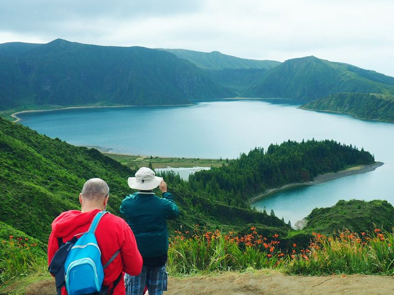 Rear View Adult People Mountain Togetherness Water Two People Men Nature Lake Outdoors Rural Scene Males  Day Beauty In Nature Landscape Lagoon Lagoa Do Fogo Azores Açores - São Miguel Vulcanic Craters Vulcanic Landscape Island The Week On EyeEm Lake View