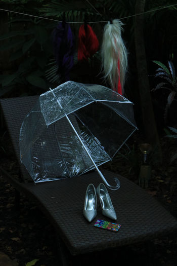 No People Outdoors Plastic Polythene Silver Shoes Umbrella Wigs First Eyeem Photo