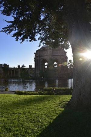 The Palace Of Fine Arts, SF Temple Building Sunlight San Francisco, California Pond