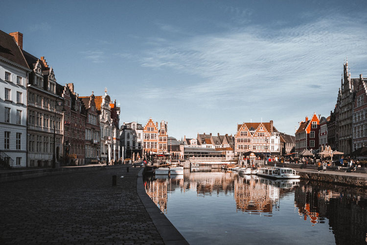 Gent city at waterfront