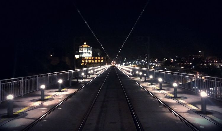 Night Illuminated Bridge - Man Made Structure Built Structure Outdoors Architecture No People City Train Nightphotography Portugal Porto