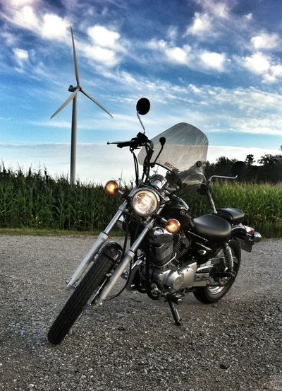 out for a ride Motorcycles Up close and personal with a Wind Turbine Near Port Rowan. Havingfun Yamaha