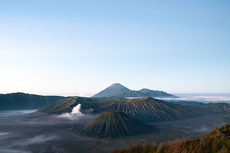 View of volcanic mountain against sky