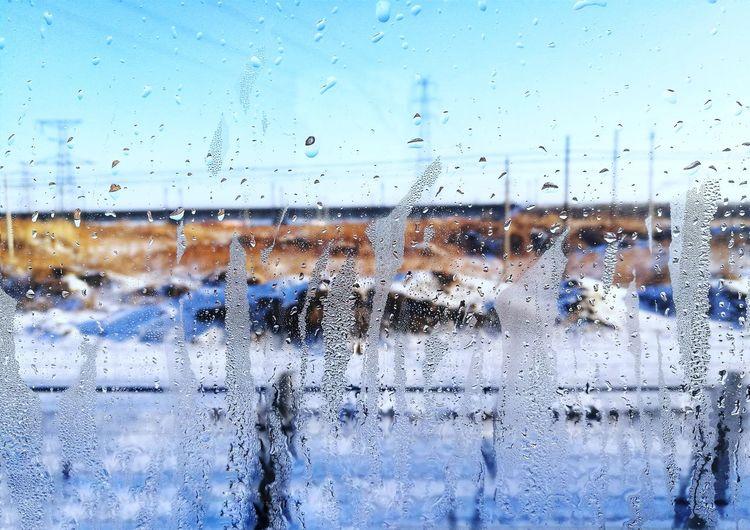 窗外的雪景 Snowing Drop Full Frame Water Close-up Sky