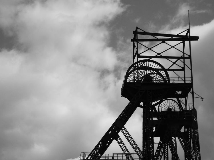 Industrial Heritage Clouds And Sky Cloud - Sky Steel Structure  Headgear Coalmine Astley Green AstleyGreen Colliery Black And White Photography Black & White Black And White Blackandwhite Close Up Close-up Minimalist Architecture