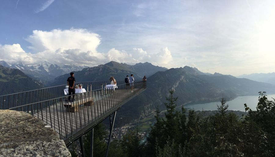 Mountain Railing Sky Mountain Range Cloud - Sky Nature Men Scenics Day Togetherness Group Of People Beauty In Nature Women Real People Outdoors Landscape Adult People Harder Kulm Interlaken Switzerland The Week On EyeEm Lost In The Landscape The Graphic City