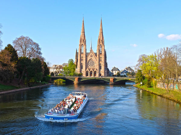 Alsace Architecture Boat Cruise France River Strasbourg Tourism Transportation Water Waterfront