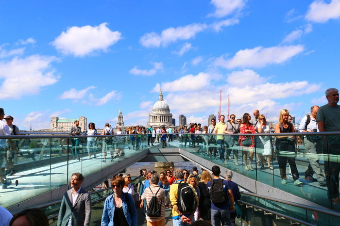 Large Group Of People Urban Skyline Cityscape St Paul's Cathedral Dome Architecture 3XSPUnity EyeEm LOST IN London LONDON❤ People Walking  River Thames Bank Bridge - Man Made Structure Summer In London Lost In London Postcode Postcards