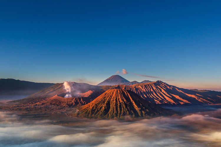 Panoramic view of volcanic mountain bromo