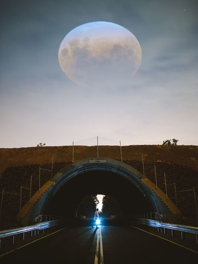 Sky Nature Transportation Night Moon Architecture Built Structure Bridge Space Outdoors Astronomy
