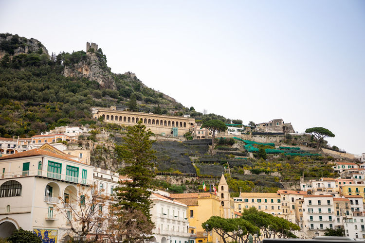 Italy Amalfi  Amalfi Coast Building Exterior Architecture Built Structure Sky Building Tree Plant Nature City Clear Sky Mountain Residential District No People History Day The Past Travel Destinations Travel Outdoors Town TOWNSCAPE