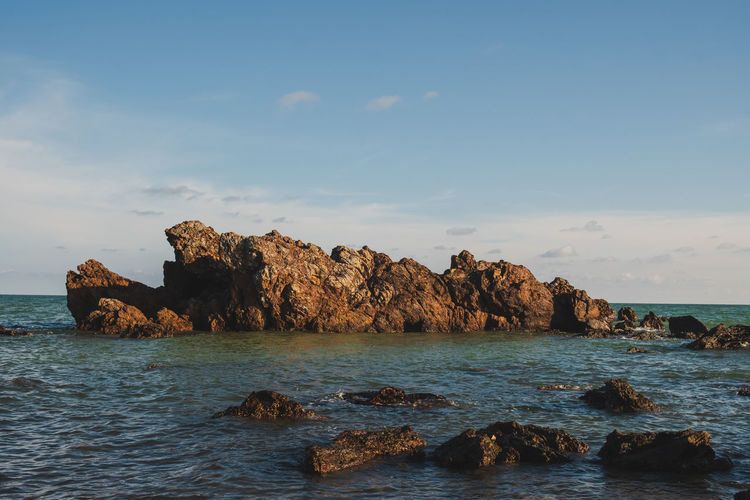 Sea Rock Water Sky Solid Rock - Object Scenics - Nature Beauty In Nature Tranquility Rock Formation Tranquil Scene Waterfront Nature No People Day Cloud - Sky Land Idyllic Outdoors Horizon Over Water Stack Rock Marine Eroded