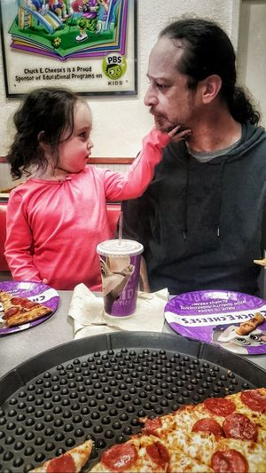Father and daughter at Chuck e Cheese Father And Daughter Father Daughter Father Daughter Spending Time Together Togetherness Family Eating Out Pizza Place  Eating Dinner Restaurant Child Adult Parent Baby Girl Pizza Cute Quality Time Food Out For Pizza Chuck E Cheese  Going Out