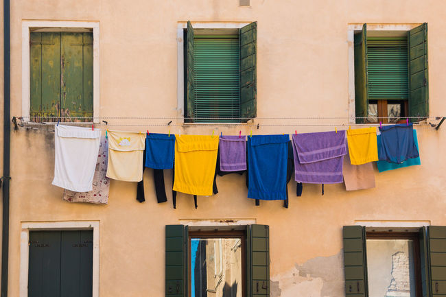 Architecture Building Building Exterior Built Structure Cloth Clothesline Clothing Day Drying Hanging Italy Laundry No People Outdoors Residential Building Venice, Italy Window