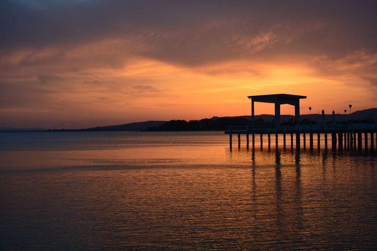 sunset Tramonto Tramonto Sul Lago Orange Color Sun Water Sunset Sky Horizon Over Water Romantic Sky EyeEmNewHere