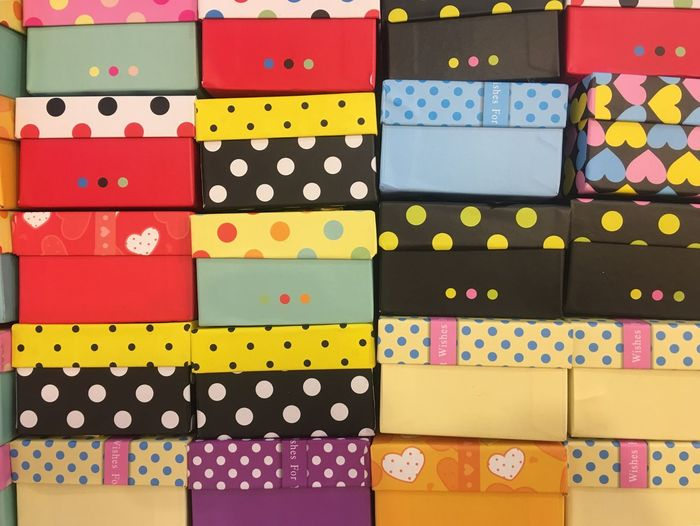 Gift Box Multi Colored Polka Dot Full Frame Variation Backgrounds Creativity Pattern Shape Art And Craft Indoors  Spotted No People Choice Stack Yellow Close-up Day Color Swatch