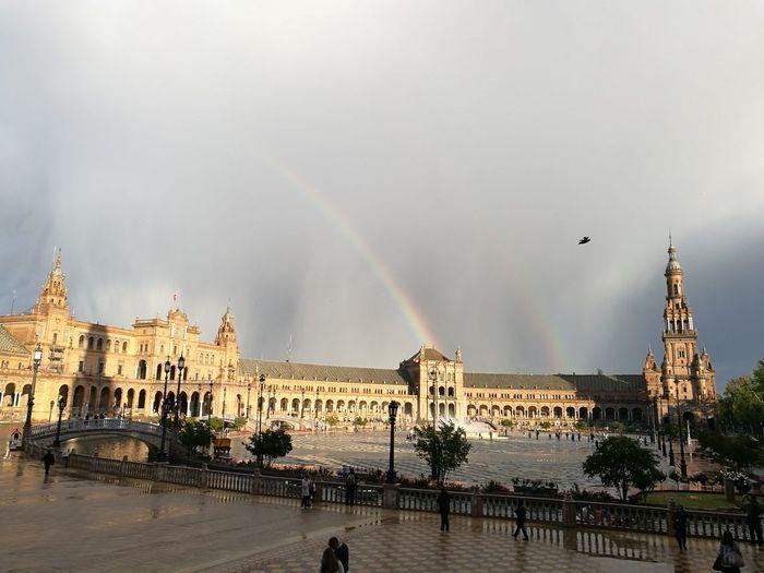 Sevilla Spain Miarma Plaza De España, Sevillahoy Lluvia En La Ciudad City Rainbow Water Sky Architecture Building Exterior Built Structure Rain Storm Rainy Season Torrential Rain