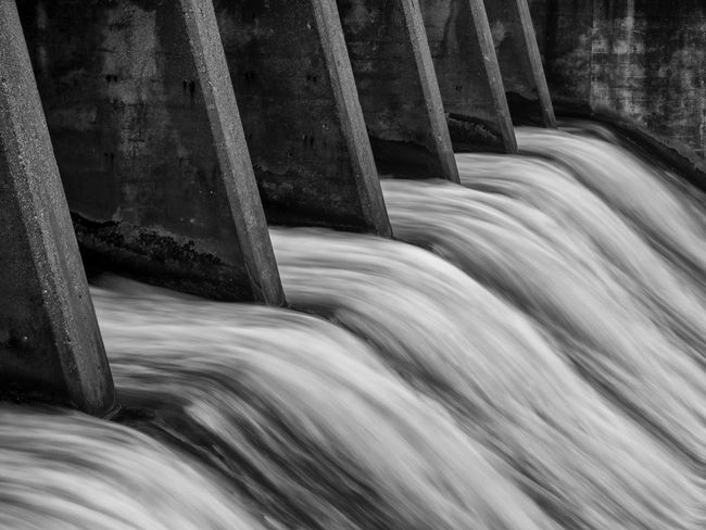 Dam in Rockford, Michigan Dam Flowing Water Long Exposure Motion No People River Rockford MI Waterfront