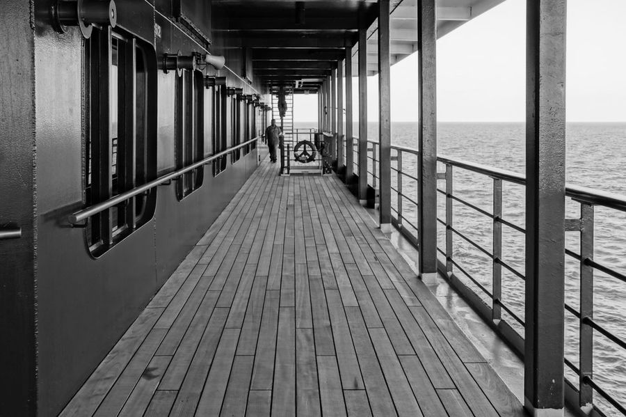Built Structure Cruise Cruise Ship Deck Kreuzfahrt Kreuzfahrtschiff Narrow Nature Railing Scenics Sea Ship Sky The Way Forward Tourism Tranquil Scene Tranquility Vacations Water Sommergefühle Black And White Friday