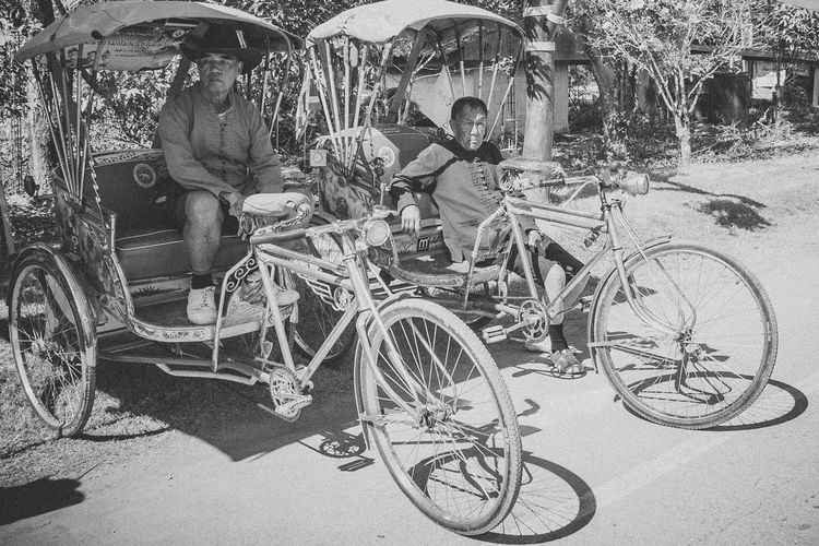 Traditional Cycle Pedicab. Blackandwhite Cycle Padicab Day Eye4photography  EyeEm Best Shots History Mode Of Transport Monochrome Old Outdoors Parking People Photography Retro Sidewalk Street Streetphotography Traditional Transportation Travel Tricycle Vintage Wheel Everybodystreet