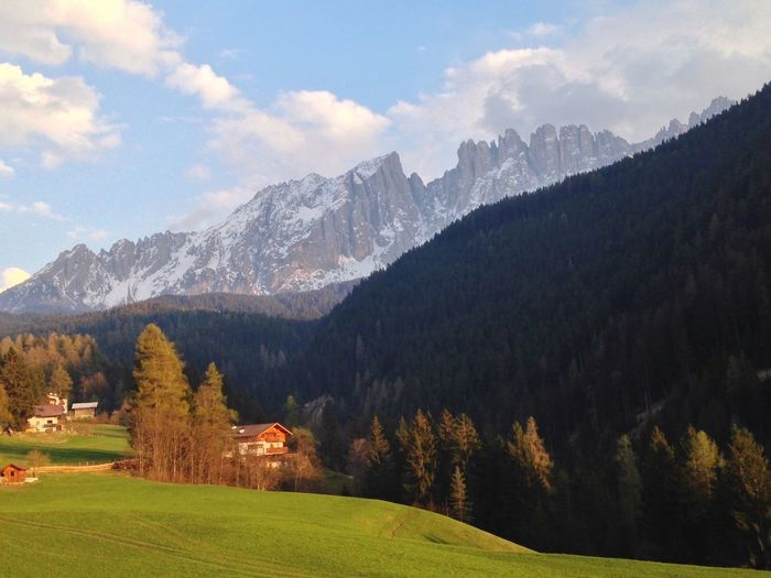 104/365 April 14 2017 One Year Project Latemar Nova Levante Welschnofen Bolzano - Bozen Trentino Alto Adige South Tyrol Beauty In Nature Nature Mountain Landscape Tree Sky Scenery Outdoors Grass Built Structure Tranquility Scenics Building Exterior Day