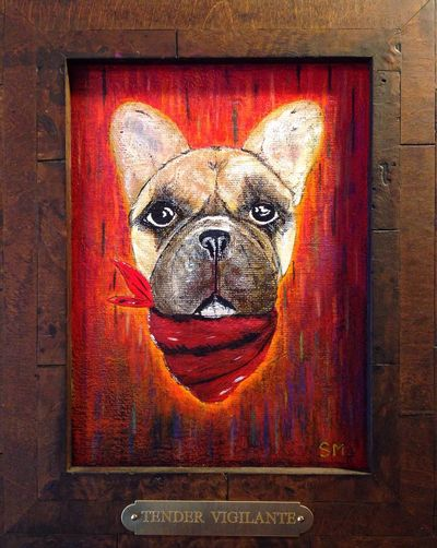 "Put a little plaque on the frame for this painting I made of Louie ""Tender Vigilante"" Dog Taking Photos Art Beautiful"