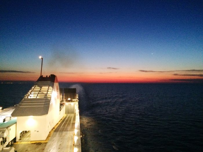 Ship Bound For Greece Sunset Ocean