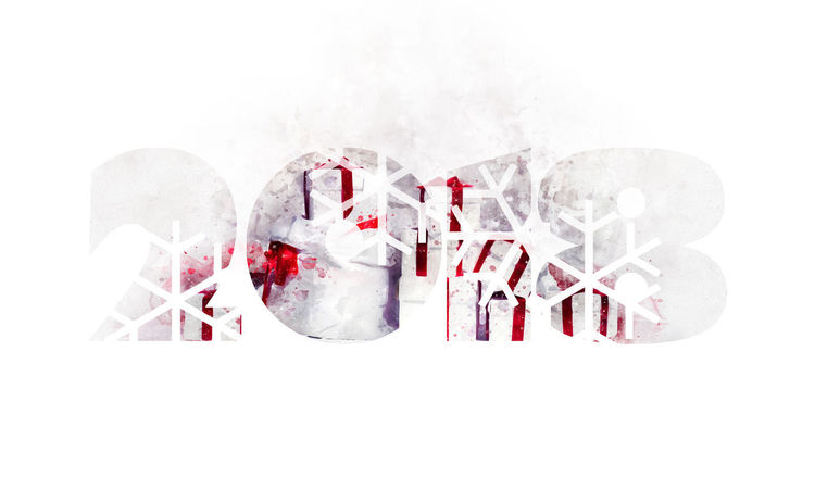2018 Happy New Year background. Christmas tree with a heap of gift boxes 2018 2018 Year Celebration Christmas December Holiday January New Year Winter Art Calendar Celebration Event Christmas Decoration Design Digitally Generated Image Digits Gift Boxes Happy New Year Illustration No People Numbers Snowflakes Symbol Watercolor White Background