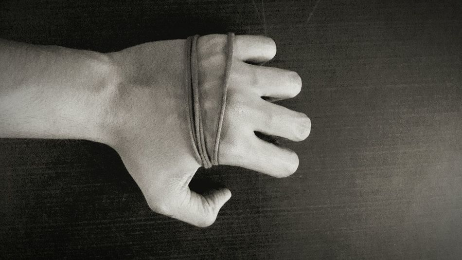 Hand Clenched Fist Tied Wrist Fingers Vintage Dark Black And White
