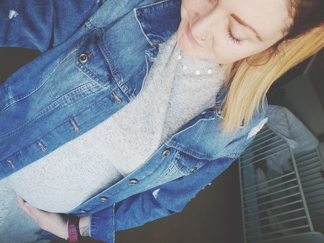 Young Women Beauty Women Standing Blue Beautiful Woman Jeans Close-up Casual Clothing