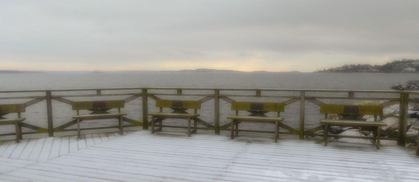 Snow Bench Sea Silence Taking Photos Winter