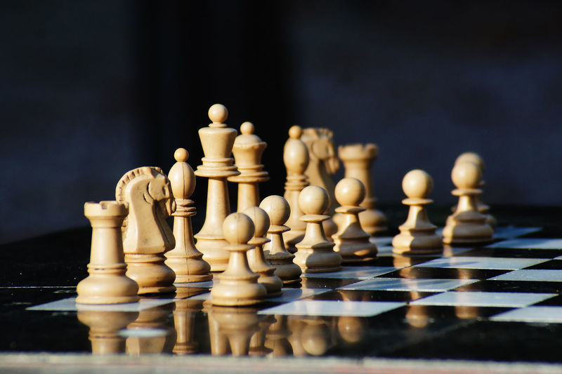 Close-up of pieces on chess board