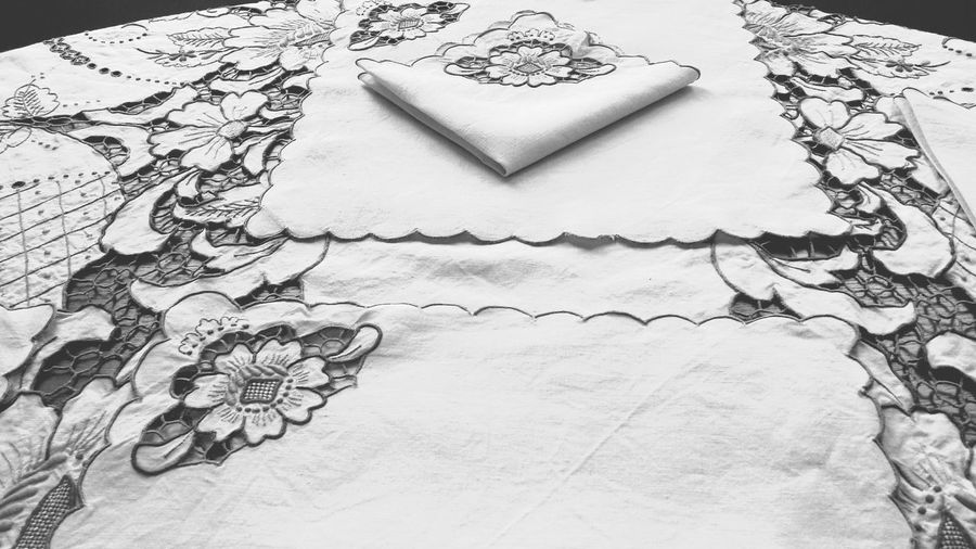 Monochrome Black And White Black & White Showcase: December Textures And Surfaces Pattern Vintage Decor Design Pretty Decor Interior Vintage Detail CutOut Floral Flowers Ivory Linen Textile Textiles Embroidered Embroidery Tablecloths Tablecloth Table