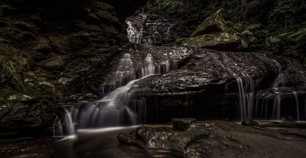 Empress Falls waterfall in the Blue Mountains of NSW, Australia Mossy Rock Ferns Rainforest No People Nature Long Exposure Water Waterfall Motion Long Exposure Flowing Water Flowing Power In Nature Stream - Flowing Water Falling Water Natural Landmark Stream Geology Canyon