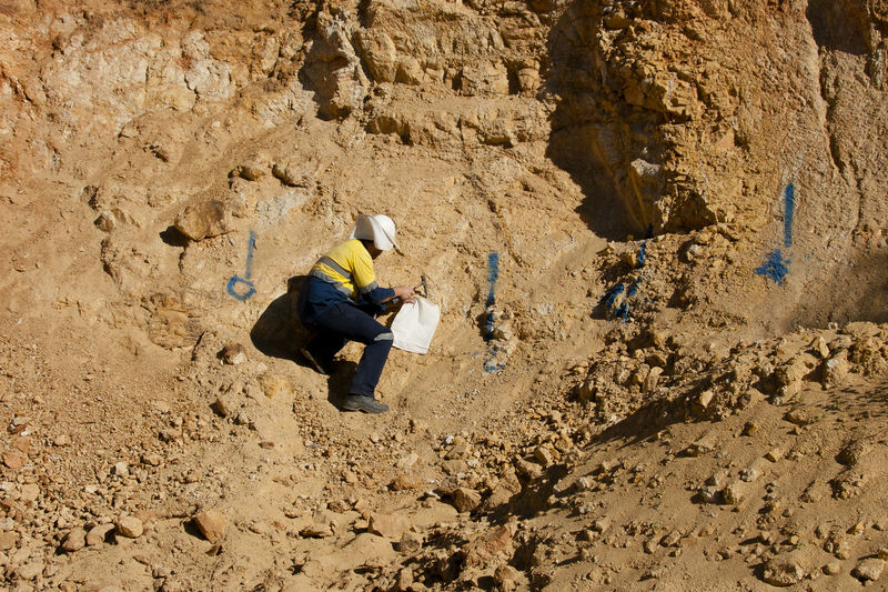 High angle view of man on rock