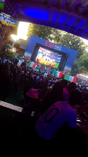 EM⚽️ Forza Italia🇮🇹 Outdoors Swizerland Italia Summer Publicviewing Winterthur Fussball EM Group Of People Crowd Illuminated Real People Large Group Of People Night Love The Game Architecture Built Structure Event City Lifestyles Performance Love The Game