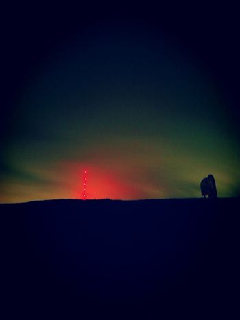 Silhouette Sunset Outdoors Sky Nature Night Scenics Beauty In Nature No People Space Astronomy Winter Hill Lancashire UK Cellphone Photography